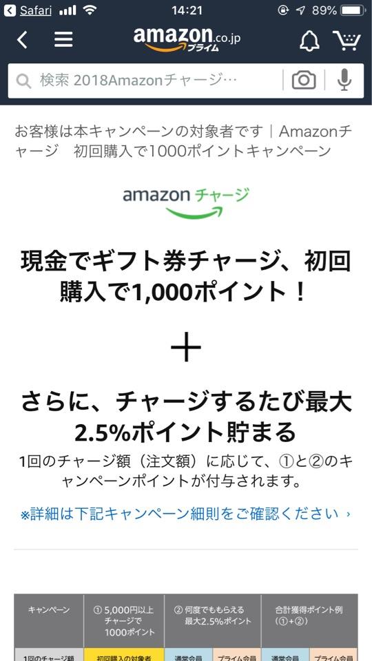 Amazonギフト券 キャンペーンにエントリーする方法