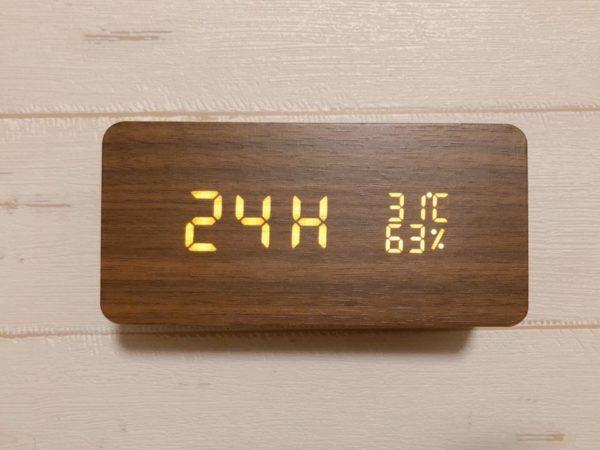 CosyLife 木目調置き時計 時間表記設定
