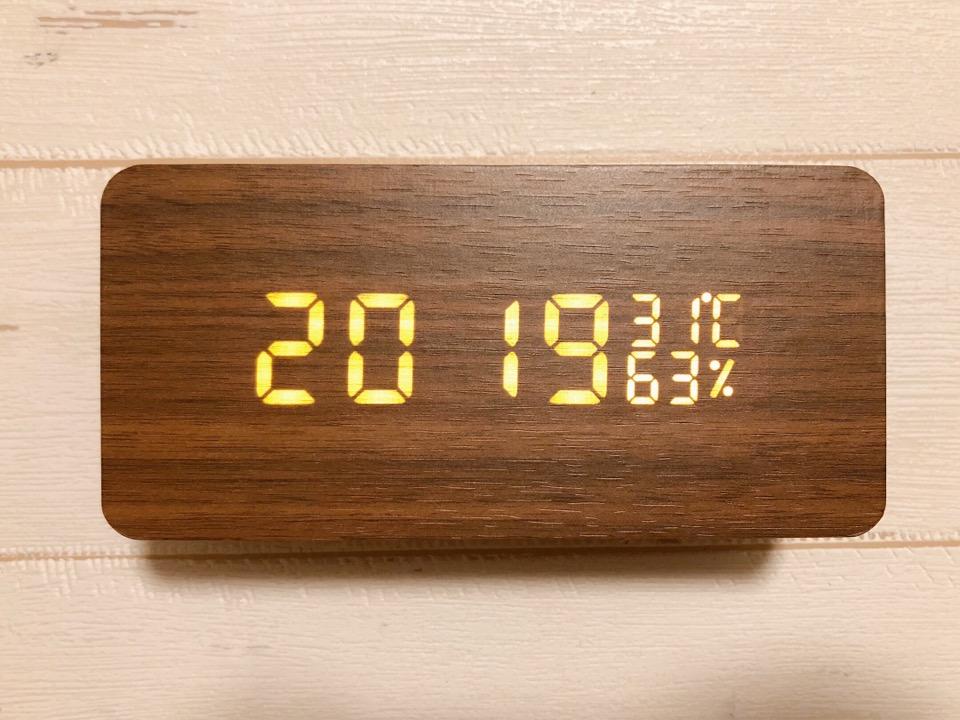 CosyLife 木目調置き時計 西暦の設定