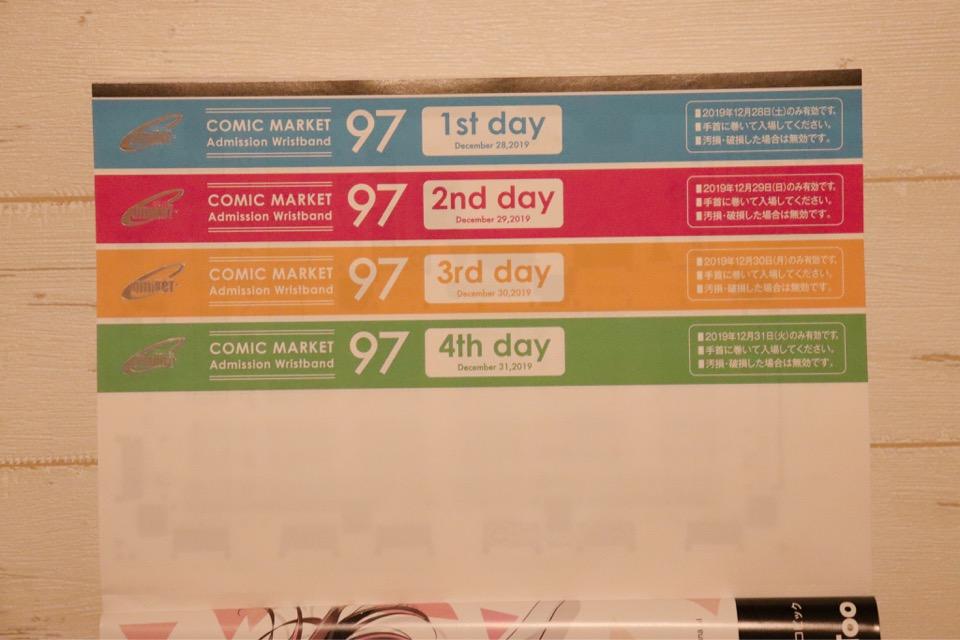 コミケのリストバンドは、冊子版カタログを購入すれば4日間分のものが付いてくる